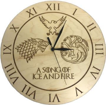 "Game of Thrones Inspired ""A Song of Ice and Fire"" Maple Clock"
